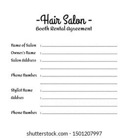 Hair salon booth rental agreement form