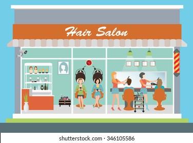 Hair salon building and interior with customer, hairdresser, barber, hair style, hair cut, hair care, hair fashion model,vector illustration.