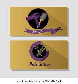Hair salon business card design concept. Hair salon logo with scissors and  hairdryer. Vintage, hipster and retro style.