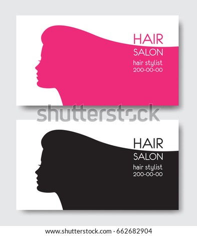 Hair salon business card templates beautiful stock vector royalty hair salon business card templates with beautiful woman face silhouette silhouette of woman with long fbccfo Image collections