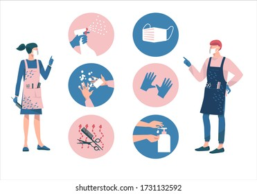 Hair salon during a Coronavirus.Female and male hairdresser in protective mask and gloves.Protective measures-disinfect, wash hands, wear mask, use sanitiser, sterilisation of tools. New normal.