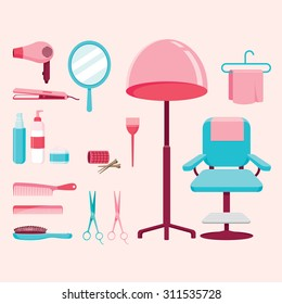 Hair salon equipments set, hairdressing, beauty, shop, accessories, objects, icons