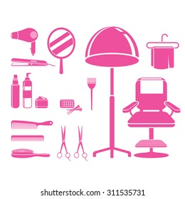 Hair salon equipments set, monochrome, hairdressing, beauty, shop, accessories, objects, icons
