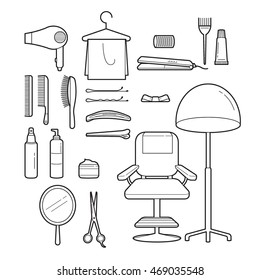 Hair Salon Equipments Set, Monochrome, Accessories, Equipment, Hairdressing, Shopping, Outline