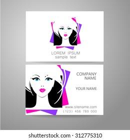 Hair salon, hairdresser - template logo. Branded business card hair stylist.