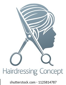 A hair salon hairdresser woman scissors sign symbol concept