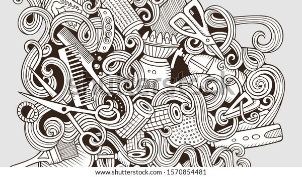 Hair Salon Hand Drawn Doodle Banner Stock Vector Royalty Free 1570854481
