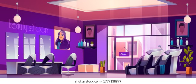 Hair salon interior with hairdresser chairs, mirrors, sink and cosmetics on shelves. Vector cartoon illustration of empty modern barbershop, beauty salon or parlour for makeup and style