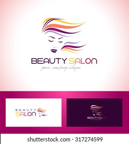 Hair Salon Logo. Beauty Female Face Logo Design.Cosmetic salon logo design.