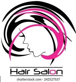Hair Salon Logo Girl Face with pick Highlights Vector