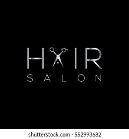 Hair salon logo with scissors silver / vector illustration