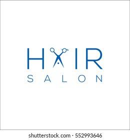 Hair salon logo with scissors / vector illustration