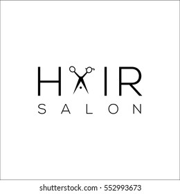 Hair salon logo with scissors / vector illustration