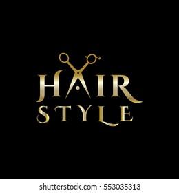 Hair salon logo with scissors. Scissors vector logo design template. Vector illustration.