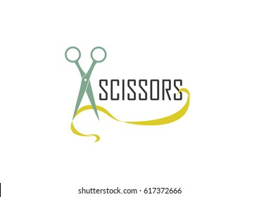 Hair salon logo with scissors. Scissors vector logo design. Vector illustration.