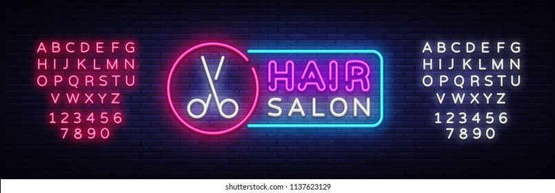 Hair Salon neon sign vector. Hairdress Design template neon sign, light banner, neon signboard, nightly bright advertising, light inscription. Vector illustration. Editing text neon sign
