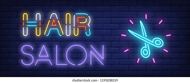Hair salon neon text and shining scissors. Hairdressing salon, style, fashion and advertisement design. Night bright neon sign, colorful billboard, light banner. Vector illustration in neon style.