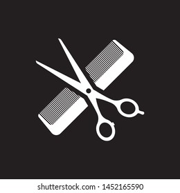 hair salon with scissors and comb icon - vector illustration