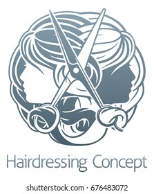 Hair salon stylist hairdresser concept with womens faces and scissors