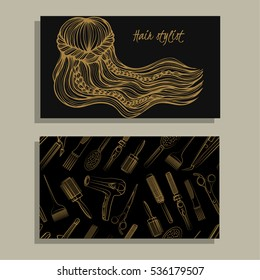 Hair salon. Hair stylist. Vector set of logotype and visit card. Sketch illustration.