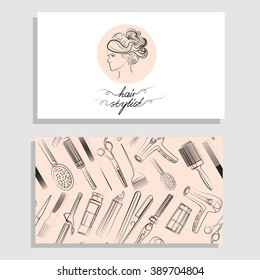 Hair salon. Vector set of logotype and visit card. Hand drawn illustration.