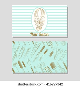 Hair salon. Vector set of logotype and visit card with tiffany blue background. Hand drawn illustration.