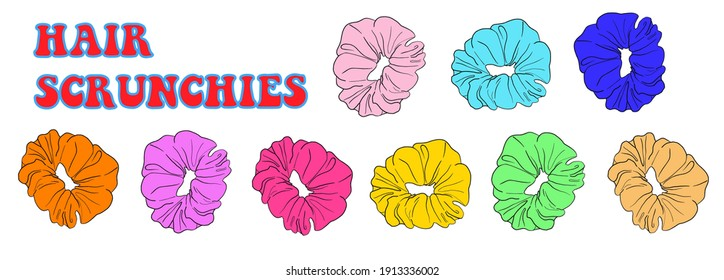 Hair scrunchies. Lettering. Colourful illustration of hair tie in 80's retro style. Teenage slang. Sksksk and i oop! VSCO girl subculture. Stickers. Vector EPS10.