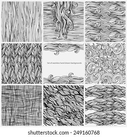 Hair seamless hand drawn backgrounds