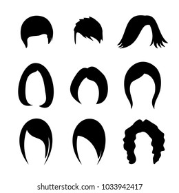 Hair silhouettes. Women hairstyle icon collection.