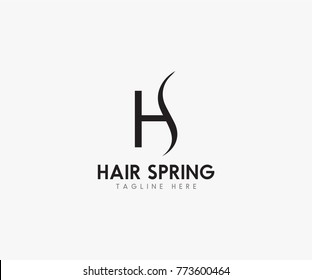 Hair spring logo vector, HS lettering sketched logotype, fashion icon.