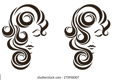 Hair stile icon, female face, vector logo design