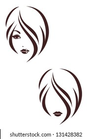 Hair stile icon, logo girl's face