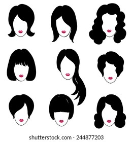 Hair style set. Woman profiles. Girl silhouettes collection. Female beauty icons.