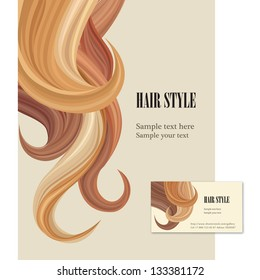 Hair style. Vector set poster and visit card.