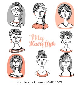Hair styles collection vector, vector illustration of collection of female hair style