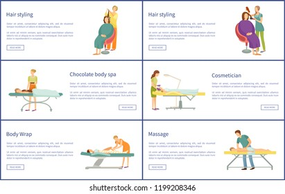 Hair styling and chocolate care spa posters with text sample vector. Wrap of legs, cosmetician with facial procedures and relaxation treatment set