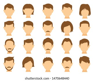 hair styling icons for woman and man. with different hairstyles and color