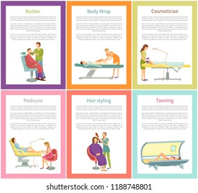 Hair styling and tanning process in solarium sunroom, posters with text sample vector. Cosmetician and face care, barber styling, body wrap pedicure