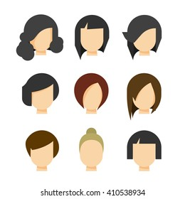 Hair styling vector illustration isolated on white background, haircut set on woman head silhouette, hair abstract model flat cartoon shapes design