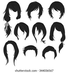 Hair styling for woman drawing Black Set 1. illustration isolated on white Background