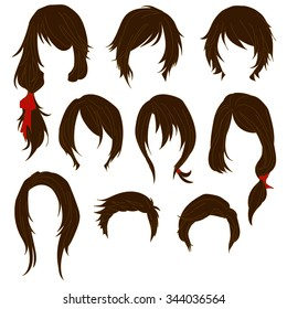Hair styling for woman drawing Brown Set 1. illustration isolated on white Background