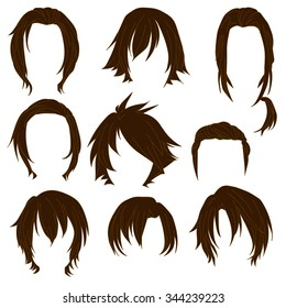 Hair styling for woman drawing Brown Set 3. illustration isolated on white Background