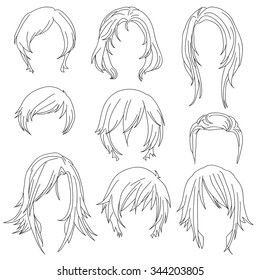 Hair styling for woman drawing Set 2. illustration isolated on white Background