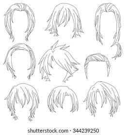 Hair styling for woman drawing Set 3. illustration isolated on white Background