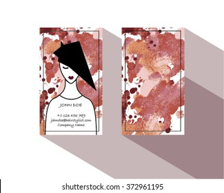 Hair Stylist Business Card Template Vector with watercolor