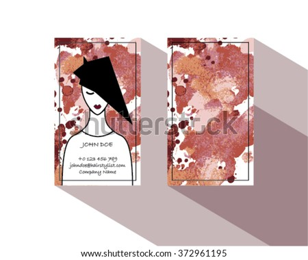 Hair stylist business card template vector stock vector royalty hair stylist business card template vector with watercolor flashek Gallery