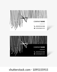 Hair stylist business cards with hair and scissors