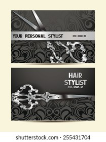 Hair stylist personal cards with silver scissors and floral design