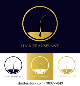 Hair transplant logo template with follicle icon. Perfect for medical diagnostic centers and clinics. Alopecia treatment concept. Vector illustration.