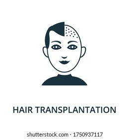 Hair Transplantation icon from plastic surgery collection. Simple line element hair transplantation symbol for templates, web design and infographics.